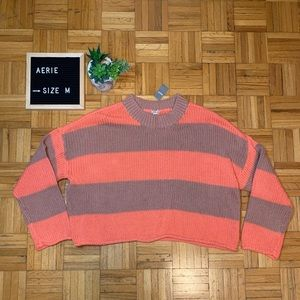Aerie Pink and Grey Bar Striped Sweater So Cute